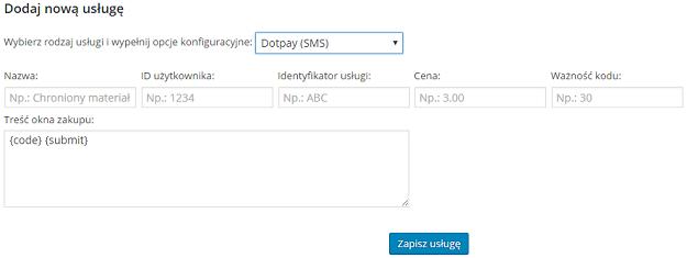 formularz dodawania usługi w Fast Micro Pay