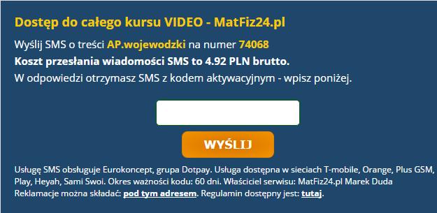 okno zakupowe usługi SMS Premium