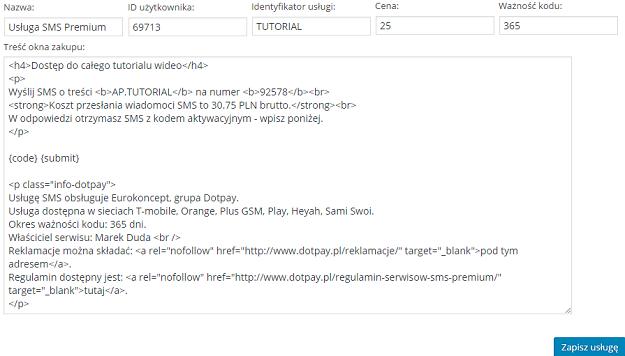 treść okna zakupu w HTML - ustawienia sms we wtyczce fast micro pay