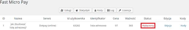 status wyłączony usługi płatności online Dotpay