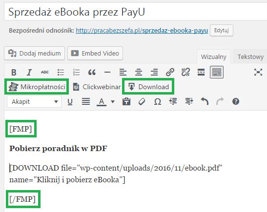 proces uruchomienia sprzedaży ebooka na wordpress
